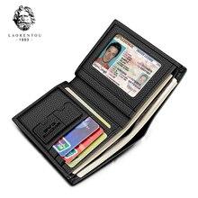 Laorentou carteira masculina de couro legítimo, carteira masculina compacta feita em couro legítimo, com compartimento para cartões, estilo vintage