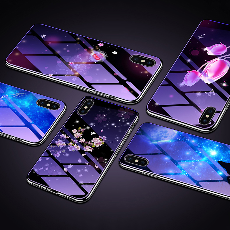 3D Flower <font><b>Tempered</b></font> <font><b>Glass</b></font> <font><b>Case</b></font> for <font><b>iphone</b></font> 6 6s 7 8 Plus Luxury Gradient Starry sky Cover for <font><b>iphone</b></font> <font><b>XS</b></font> XR <font><b>XS</b></font> Max shockproof <font><b>Case</b></font> image