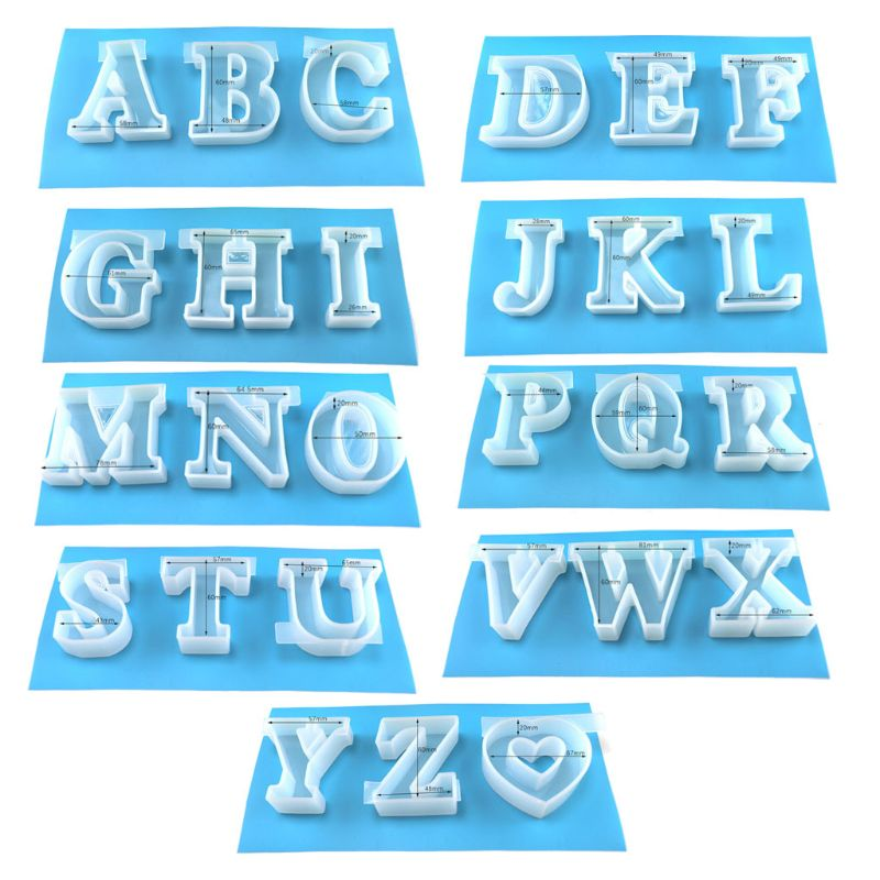 A-Z Letters & Heart 27 Molds Kit Large English Letter Handmade Silicone Resin Casting Word Sign Molds