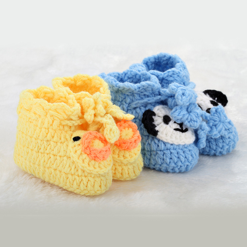 Baby shoes super soft hand knitted cute cartoon Yarn baby wool sole single