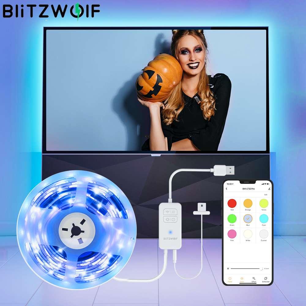 BlitzWolf BW-LT32 Pro Smart Wifi USB RGB TV PC огни Strip Light Kit светодиодный комплект освещения синхронизации с цветом экрана APP дистанционного управления голосов...