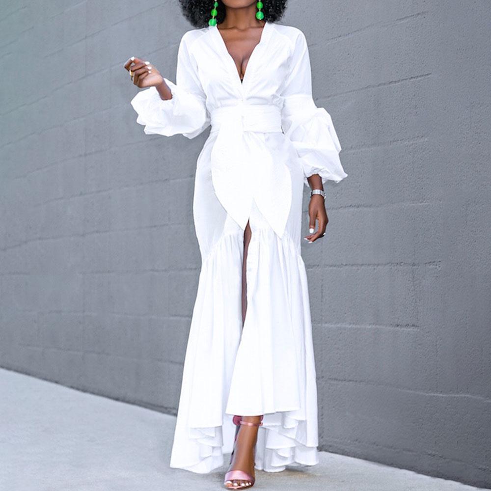 Lantern Sleeve White Long Dress Women Autumn Sexy V Neck High Waist Female Vestiods Party Club Dinner 2020 Maxi Dress Vestiods