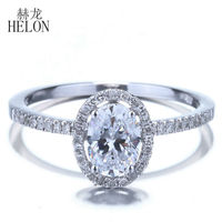 HELON 1ct VVS/DEF Moissanite Rings Solid 10k White Gold Oval 7x5mm Lab Grown Diamond Wedding Ring For Women Trendy Jewelry Gift