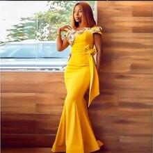 2020 Золотое желтое платье Русалочки для выпускного вечера женское