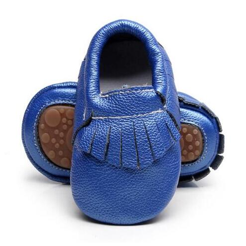 Mother & Kids ... Baby Shoes ... 32781672805 ... 2 ... Hot sell Solid Genuine Leather baby Girls Boys Toddler moccasins handmade soft rubber bottom first walkers Fringe crib Shoes ...