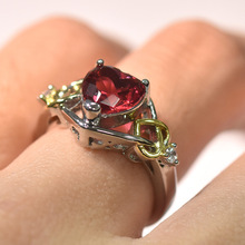 Luxury Red Stone Heart Engagement Ring Vintage Silver &  Gold Filled Wedding Rings For Women Fashion Jewelry