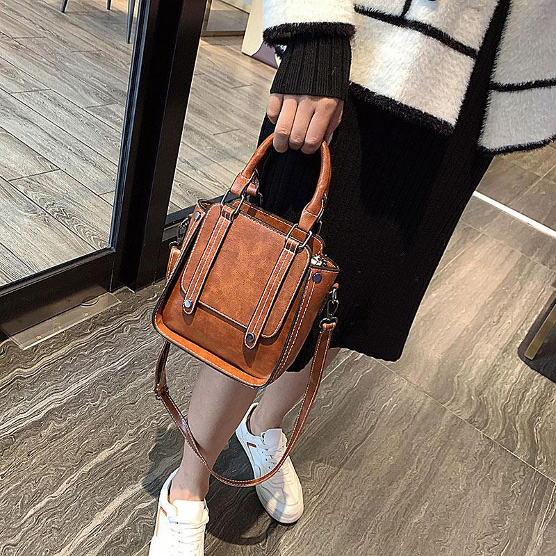 Shoulder Bag Ladies Fashion Retro Handbag Classic Pu Waterproof High Quality Messenger Bag Female Brown Wild Western Style