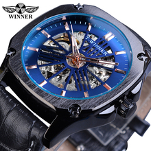 Winner Casual Mechanical Watch Men Blue Skeleton Automatic Luminous Hand Leather Band Clock Man Sport Fashion Wristwatch Relogio все цены