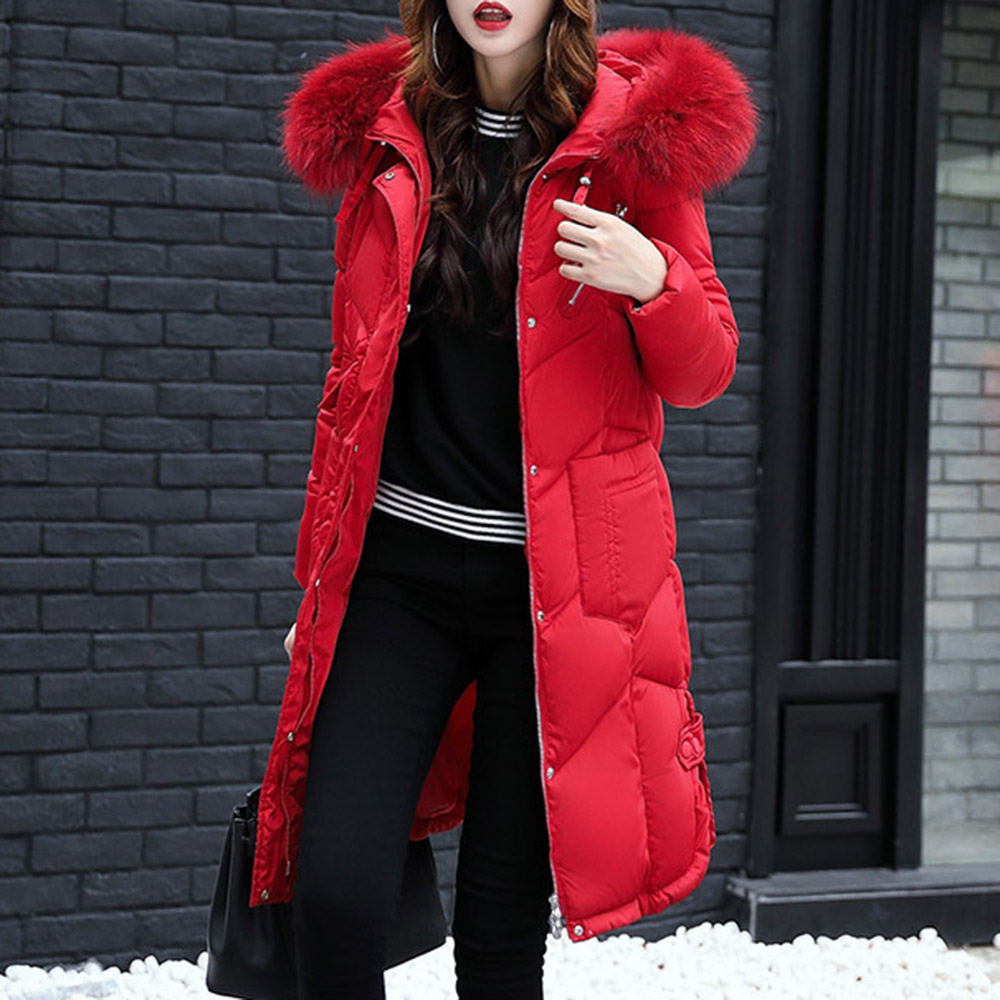 Women winter coat long hooded straight thick padded jackets warm parkas abrigos mujer invierno 2019 female chic cotton overcoat