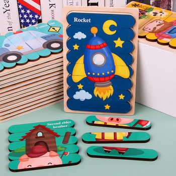 Baby toys Wooden Pattern Animal Jigsaw Puzzle Colorful Toy Kids Montessori Early Education Sorting Games Toys Children Gift baby toy kids montessori fish puzzle animal panel toys for children wooden early childhood education preschool training learning