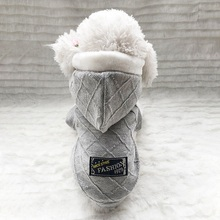 Letter Pattern Autumn Winter Pet Dog Clothes Double Thick Jacquard Coat Warm Jackets Puppy Hooded Outfits for Dogs