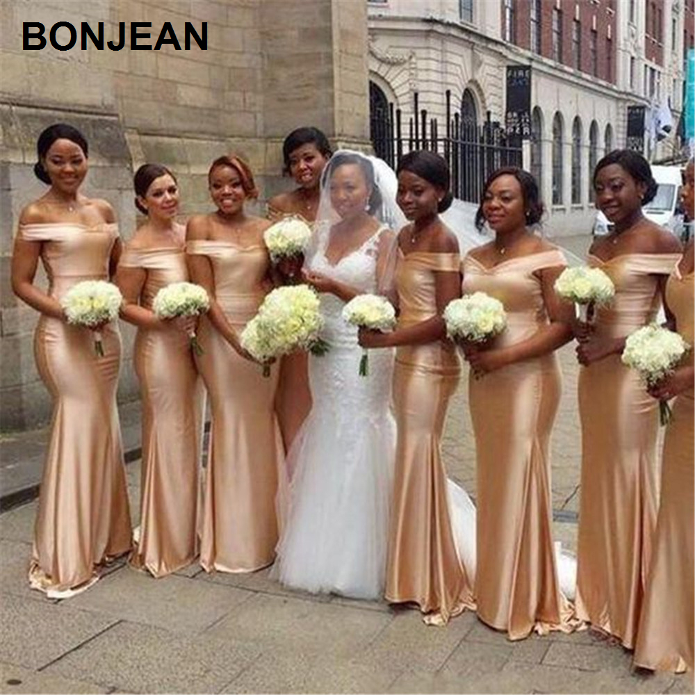 Wholesale Price Off The Shoudler Bridesmaids Dresses Long Satin Golden Bridesmaid Dress Sleeveless Boat Neck For Wedding Party