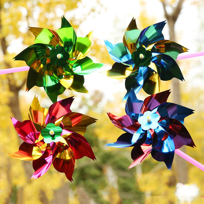 10pcs Children Garden Toys Windmill Colorful Decoration DIY Handmade Class Wind Spinner Outdoor Toy Gift For Kids Moulin A Vent