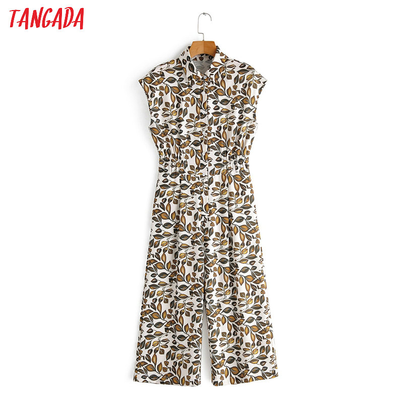 Tangada Women Summer Leaf Print Long Jumpsuit Short Sleeve Turn Down Collar Female Casual Jumpsuit 1F76