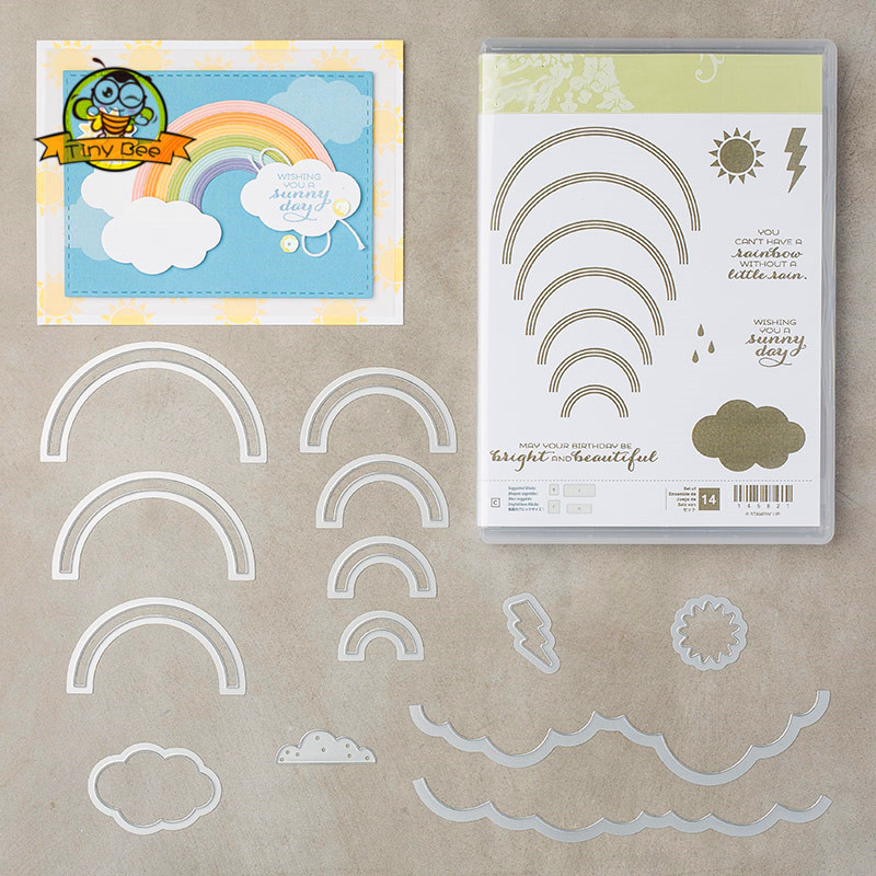 Rainbow Metal Cutting Dies And Stamps For Scrapbooking New 2019 Die Cuts For Card Making Stitch Craft Dies Stencil