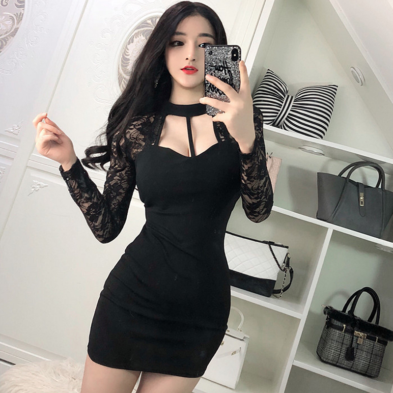 2020 Sexy Nightclub Cheongsam Lace Black Red Female Perspective Mesh Lady Dress For Women Party Banquet Dress Qipao Vestidos