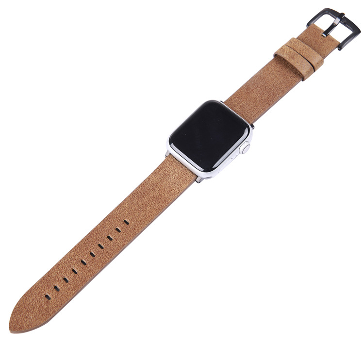 Suitable For APPLE Watch 1, 2, 3, 4 Generation Smart Watch Cruciferous Fine Lines Leather Watch Strap