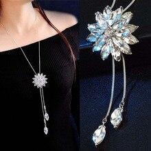 Fashion Crystal Flower Tassel Long Woman Necklace Women Girl Jewelry Snowflake Waer Drop Accessories
