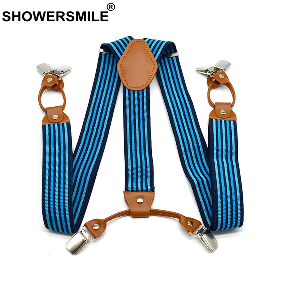 SHOWERSMILE Designer Suspenders Men Braces For Trousers Striped Shirt Stays Business Suspenders 6 Clips Pants Suspender 120 Cm