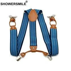 Showersourire concepteur bretelles hommes bretelles pour pantalon rayé chemise reste affaires bretelles 6 Clips pantalon jarretelle 120 Cm