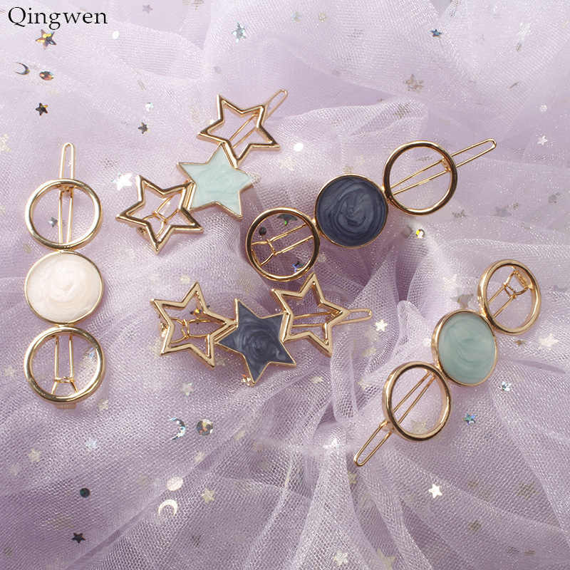 Qingwen 2019 Fashion Jewelry Women Round Star Alloy Hair Clip Headwear Headband Hairpin Barrette Wedding Hair Accessories