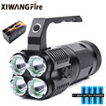 Powerful LED Portable Searchlight Long-range Flashlight Rechargeable Torch Lantern Use 4*18650 Batteries for Camping Adventure