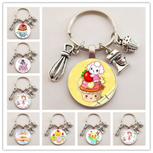 Key-Chain Charm Jewelry Pastries Fashion Cute Cake Glass Wedding-Party-Gift