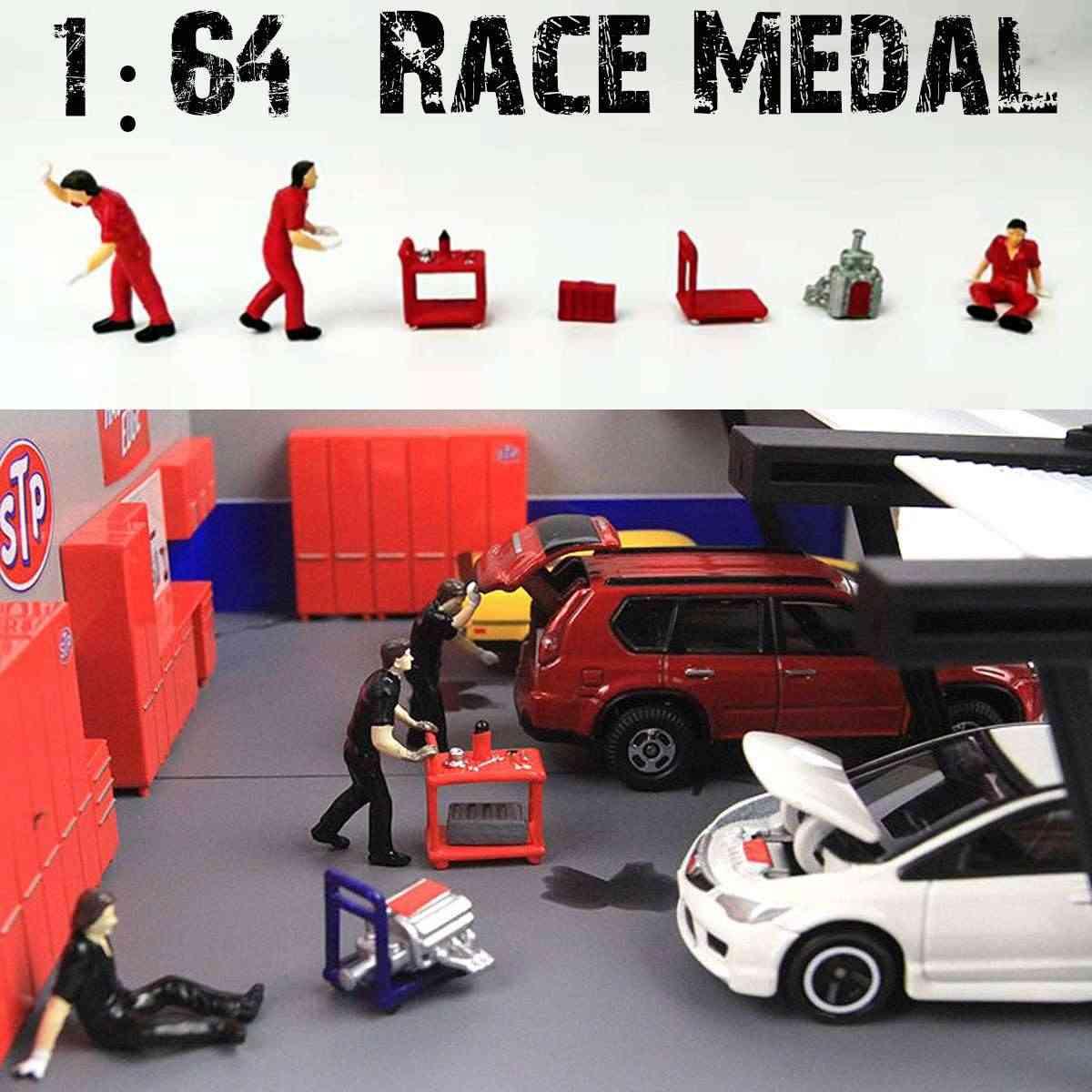 1: 64 7Pcs Tukang Skenario Model Gambar Skenario Model Set untuk Kotak Korek Api Fortomy Hadiah untuk Anak-anak Figurine Miniatur Mainan