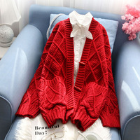 red thicken women sweater and cardigan loose winter thicken warm pocket lady outwear coat tops