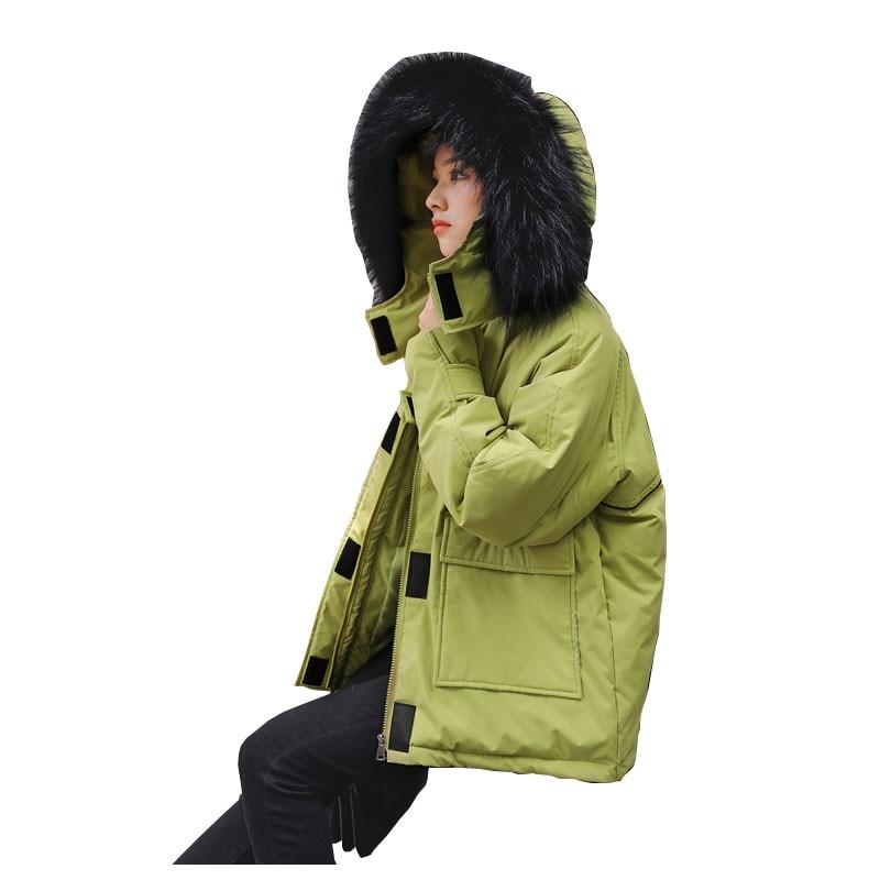 Chic Womens Fur Hooded Coat Short Parka Jacket Winter Warm Jacket Outwear Thick