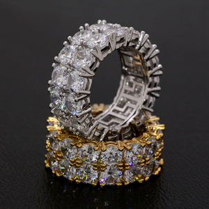 Bling Big Zircon Stone Gold Silver Color Hip Hop RIngs for Women Man Fashion Wedding Engagement Jewelry Best Gift 2019