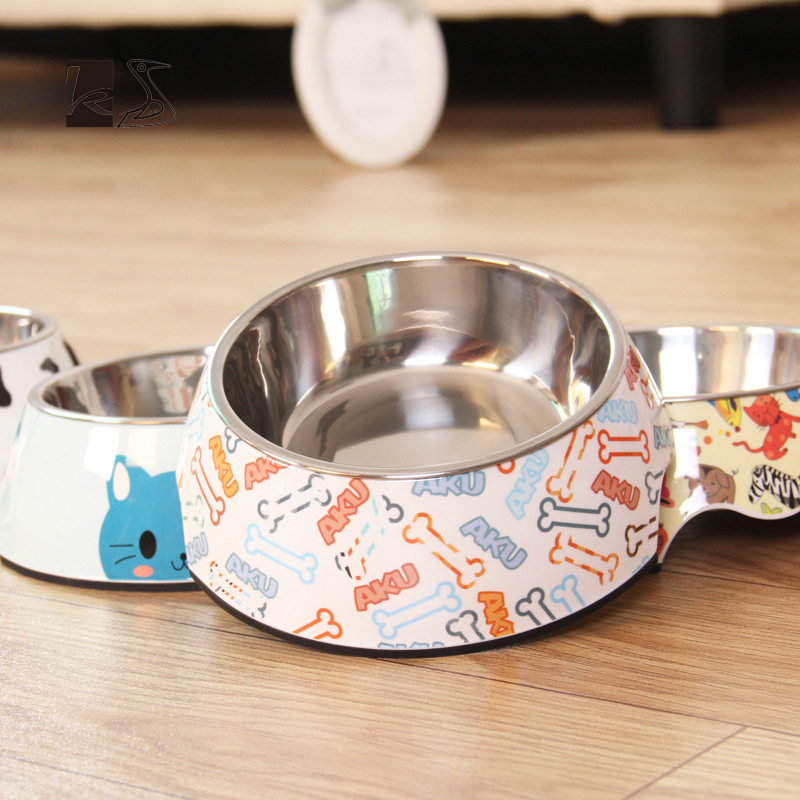 Stainless Steel Cartoon And Colorful Dog's And Cat's  Double-deck Feeding And Drinking Water Bowl