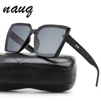 New Fashion Large Frame Square Sunglasses Women 2020 Luxury Brand Designer Trendy Letter Sun Glasses Female Classic Black Shades