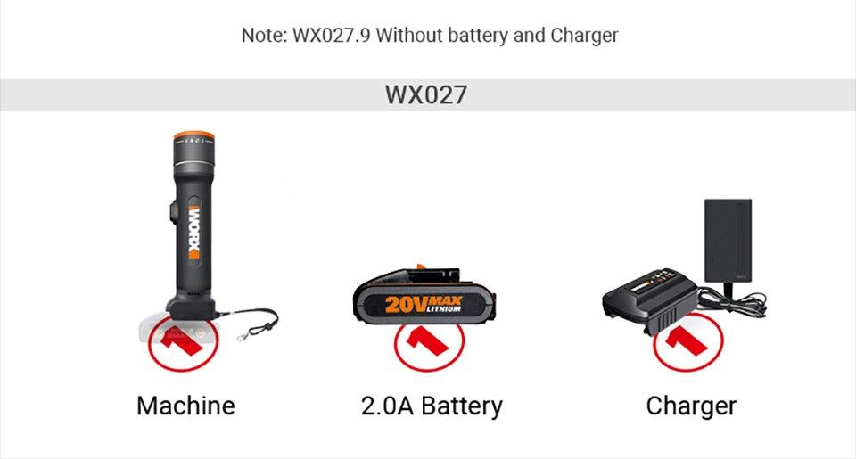WORX 20V LED Light Portable Lanterns WX027 Rechargeable Flashlights LED light Desk Lamp Outdoor lamps for SOS flashlight Lantern 23