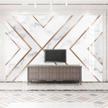Custom Wallpaper 3D Golden Lines Geometric Marble Pattern TV Backdrop Mural Modern Creative Living Room Decoration Wall Painting фото