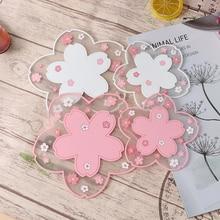 1pc Japan Style Cherry Blossom Heat Insulation Table Mat Family Office Anti-skid Tea Cup Milk Mug Coffee Cup Coaster