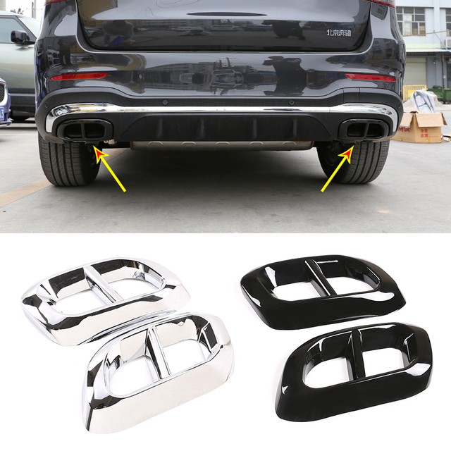 2pcs Car Muffler Exhaust Pipe Tail Cover Trim Exterior Accessories For Mercedes Benz GLE 350 GLE 450 GLC GLS W167 X253 X167 2020 1
