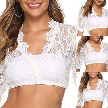 Rose Lace Short Shirts Women V Neck Solid Bare-Midriff Short SleeveTransparent Oktoberfest German Di
