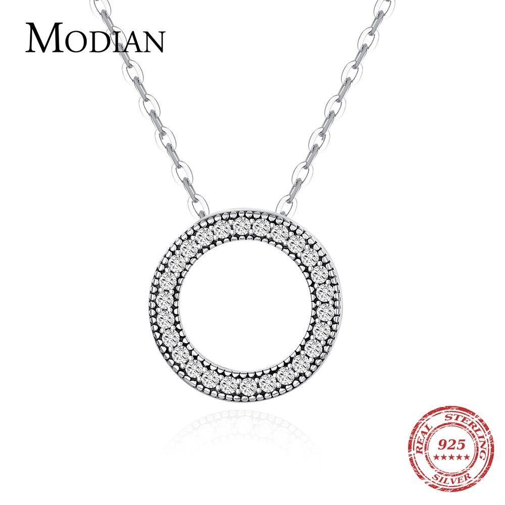 Modian, романтическое Настоящее серебро 925 пробы, модное ожерелье с круглым сердцем для женщин, фантастическая жизнь, свадебные ожерелья, ювелирное изделие, подарок|Ожерелья|   | АлиЭкспресс