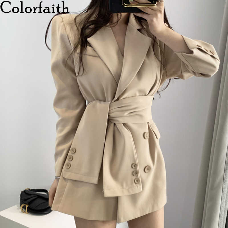 Colorfaith New 2019 Autumn Winter Women's Blazers Sashes Lace Up Formal Long Jackets Notched Outerwear England Style Tops JK156