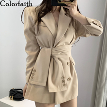 Colorfaith New 2019 Autumn Winter Women's Blazers Sashes Lace Up Formal Long Jac