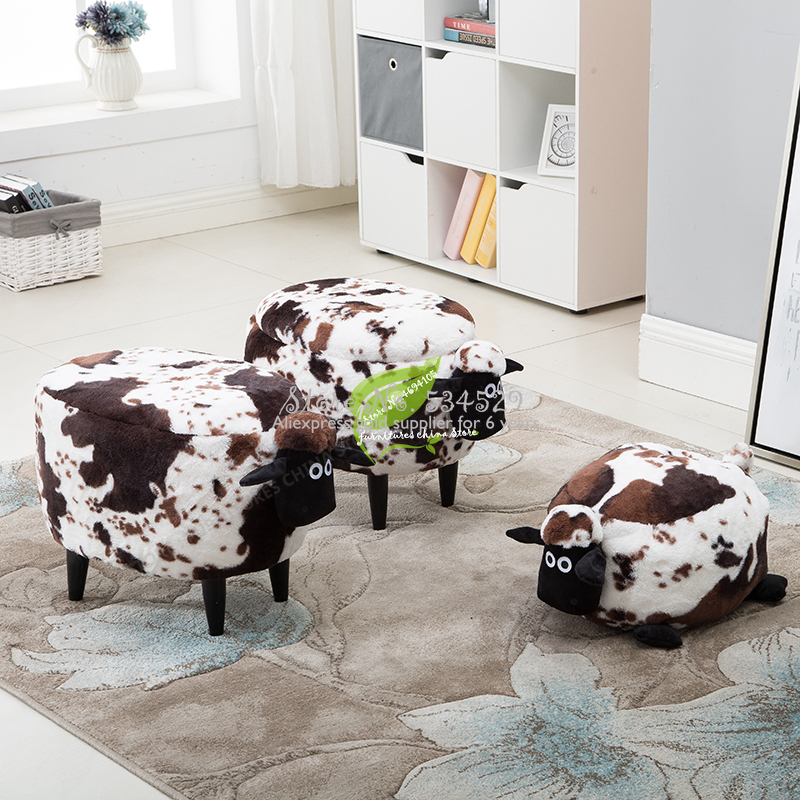 38%Simple Wood Lamb Makeup Chair Cartoon Solid Wood Frame Stool Animal Beast Cushion Children Storage Sofa Sheep Furniture Bench