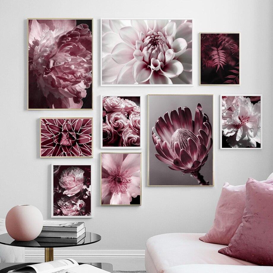 Большой розовый пион роза цветок листья настенная живопись холст скандинавские постеры и принты настенные картины для гостиной салон Деко...