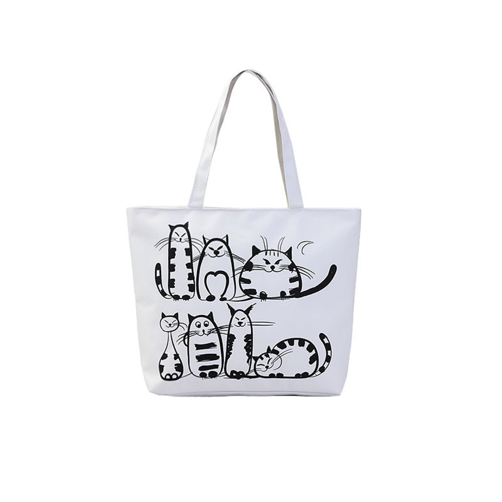 1pc kawaii Cartoon Cat Shoulder Bag Tutorial Bags for Students Large Capacity Canvas Handbag School Bags for Girls Stationery