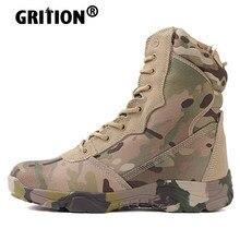 Grition homens caminhadas botas trekking à prova dwaterproof água ao ar livre respirável tornozelo militar areia camuflagem sapatos de montanha tático tamanho 46