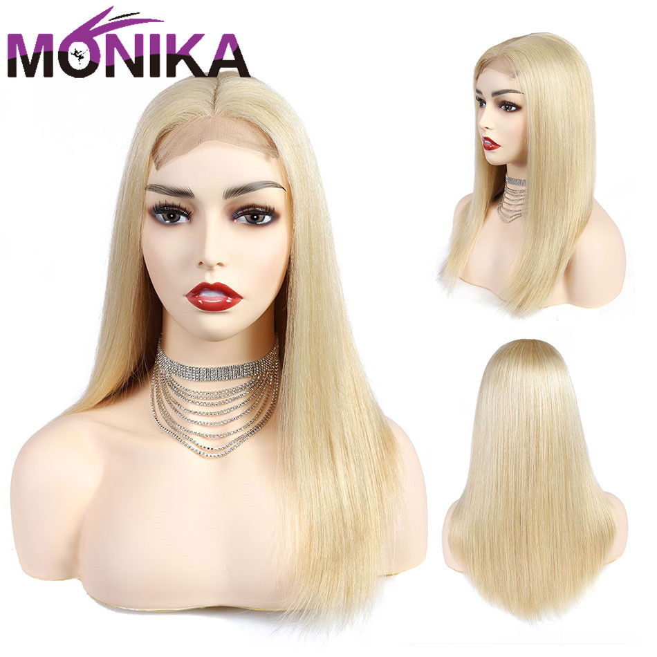 Long Blonde Wig Human Hair Wigs Straight Remy Hair 613 Brazilian Lace Wigs For Black Women 4x4 Lace Closure Wig 10-18inch Monika
