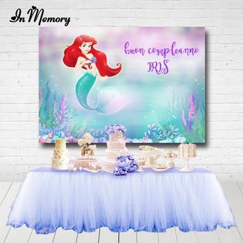 InMemory Photography Backdrop Under the Sea Ariel Princess Little Mermaid Girls Birthday Photo Studio Background Photocall