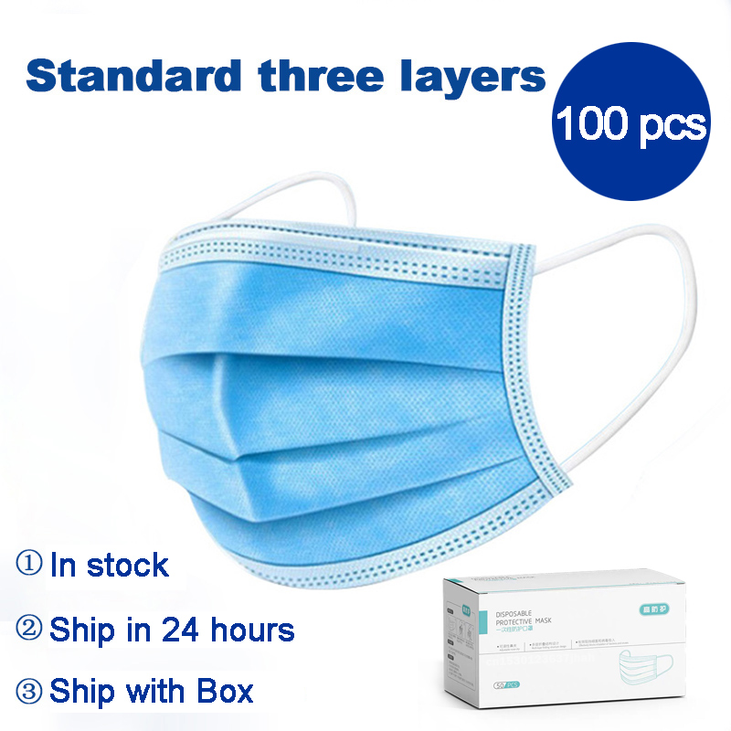 100 Pcs Of 3-layers Disposable Protective Mask Melt Blown Cloth Protective Layer Multi-purpose Light And Thin Breathable Mask