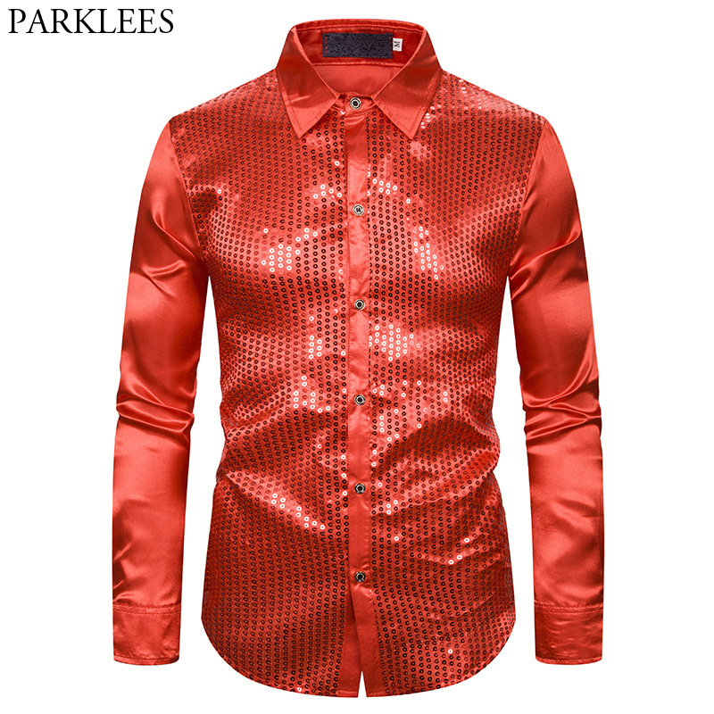 Men's Sequins Silk Satin Dress Shirts 2019 Fashion New Wedding Groom Stage Prom Shirt Male Disco Stage Party Chemise Homme Red