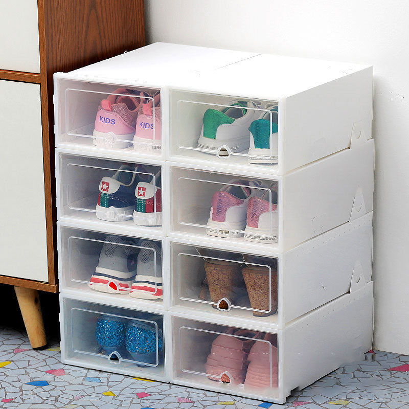 6pcs Clamshell Transparent Shoes Box Neat Dustproof Stain-resistant Plastic Shoe Box Thickenable Sackable Shoe Storage Box